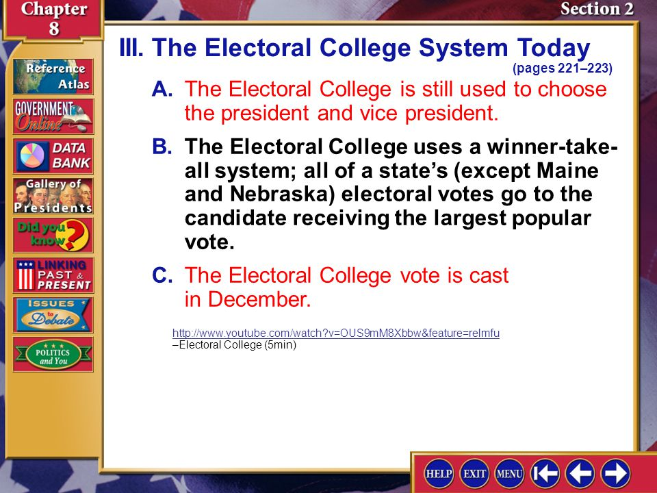 III. The Electoral College System Today (pages 221–223)