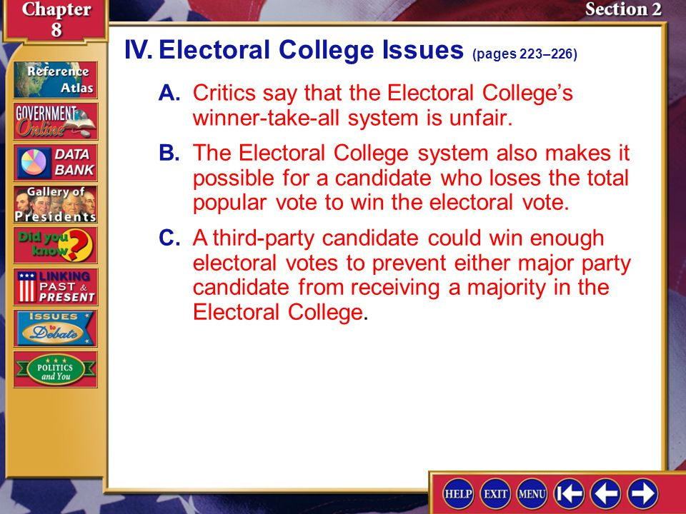 IV. Electoral College Issues (pages 223–226)