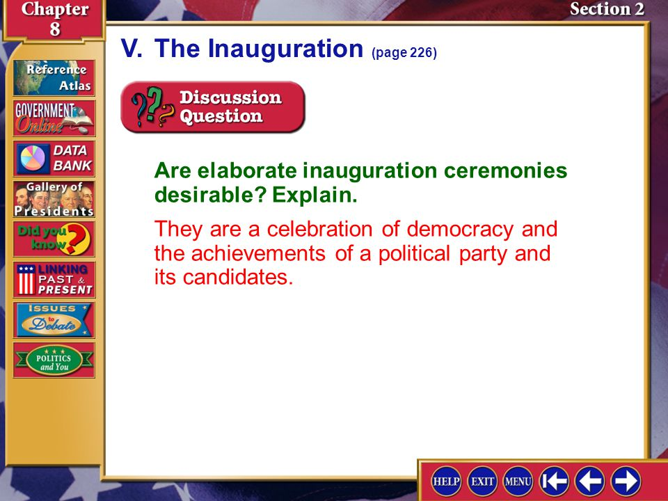V. The Inauguration (page 226)