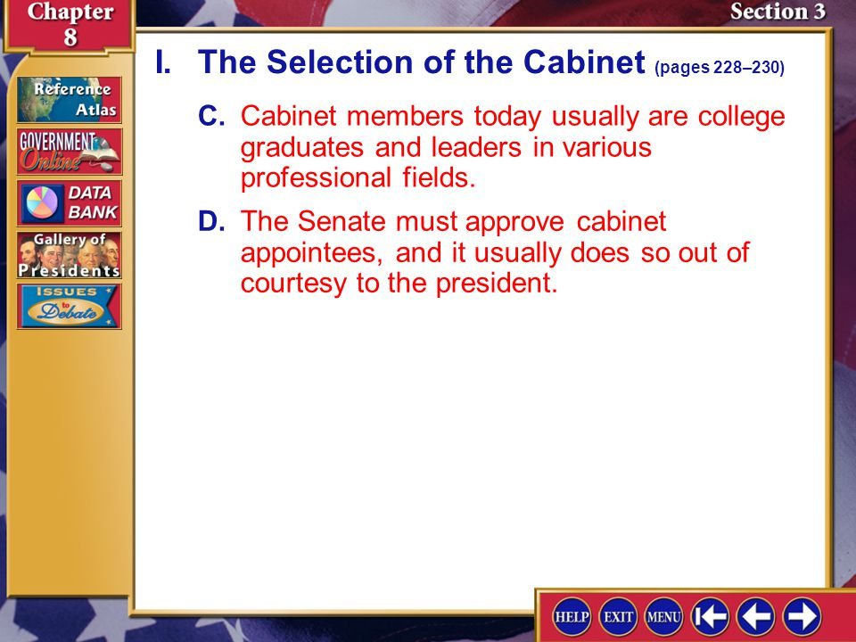 I. The Selection of the Cabinet (pages 228–230)