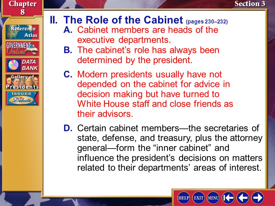 II. The Role of the Cabinet (pages 230–232)