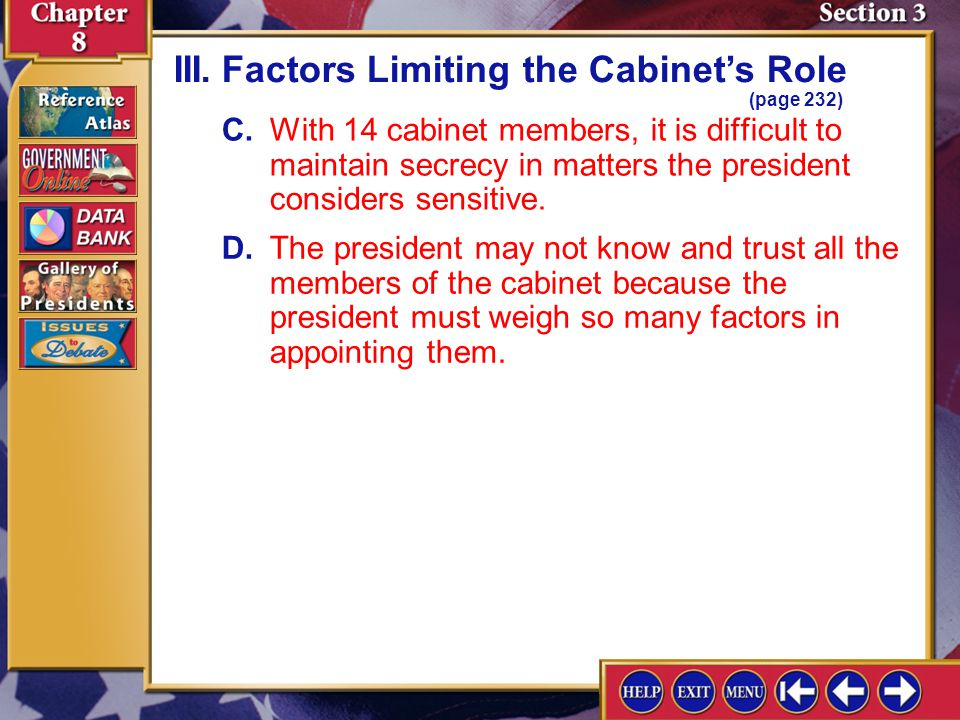 III. Factors Limiting the Cabinet's Role (page 232)