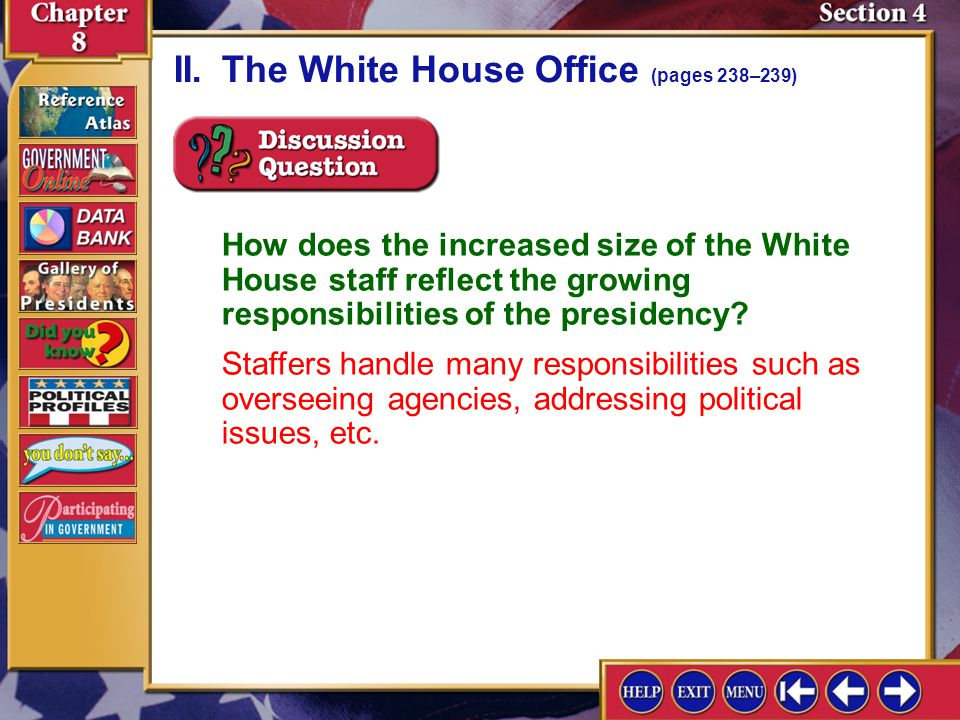 II. The White House Office (pages 238–239)