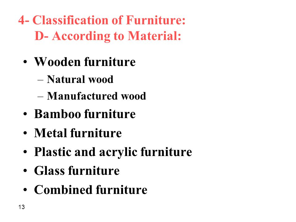 4- Classification of Furniture: D- According to Material: