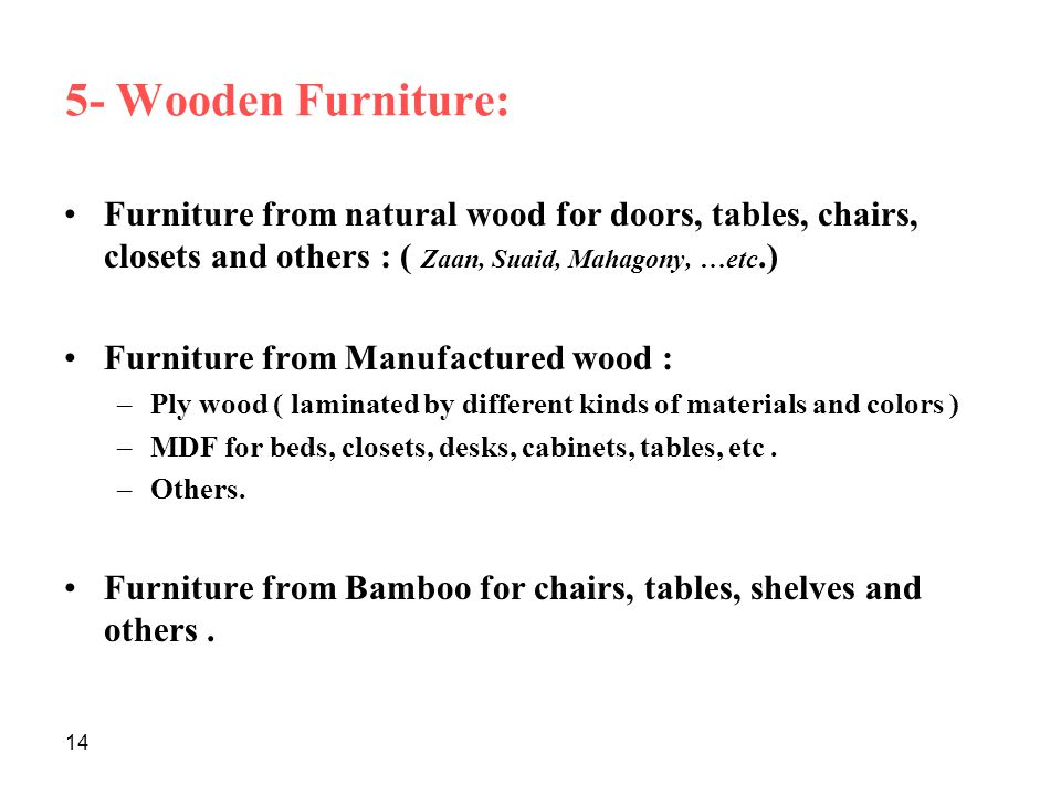 5- Wooden Furniture: Furniture from natural wood for doors, tables, chairs, closets and others : ( Zaan, Suaid, Mahagony, …etc.)