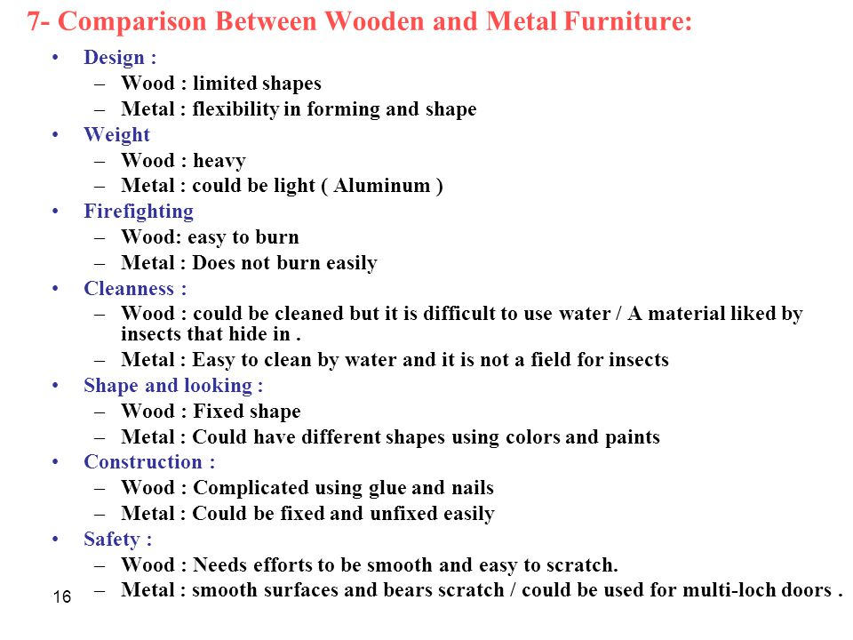 7- Comparison Between Wooden and Metal Furniture:
