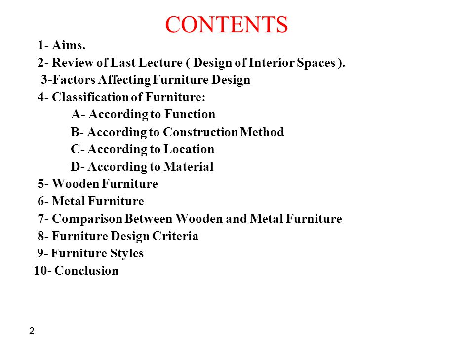 CONTENTS 1- Aims. 2- Review of Last Lecture ( Design of Interior Spaces ). 3-Factors Affecting Furniture Design.