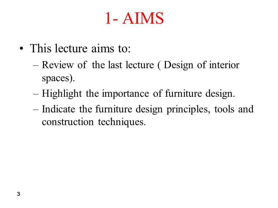 1- AIMS This lecture aims to: