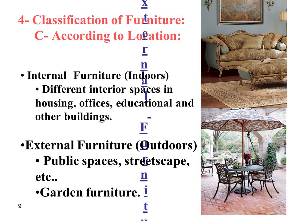 4- Classification of Furniture: C- According to Location: