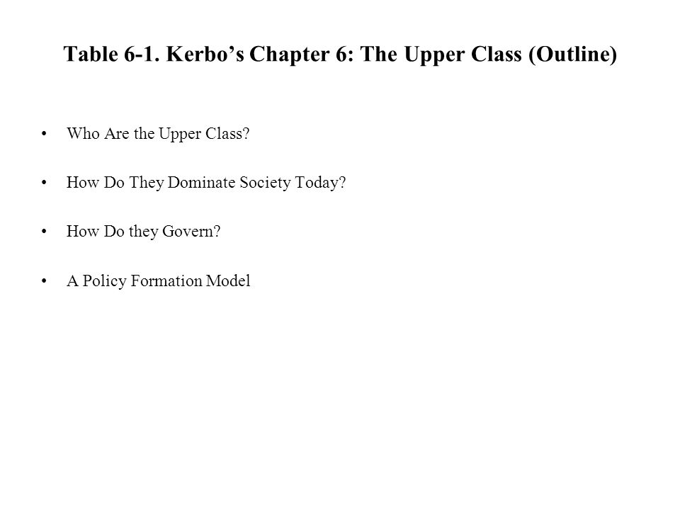 Table 6-1. Kerbo's Chapter 6: The Upper Class (Outline)