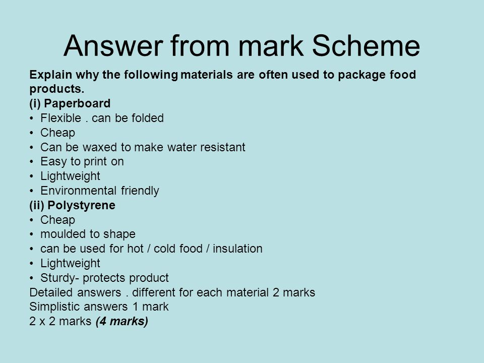 Answer from mark Scheme