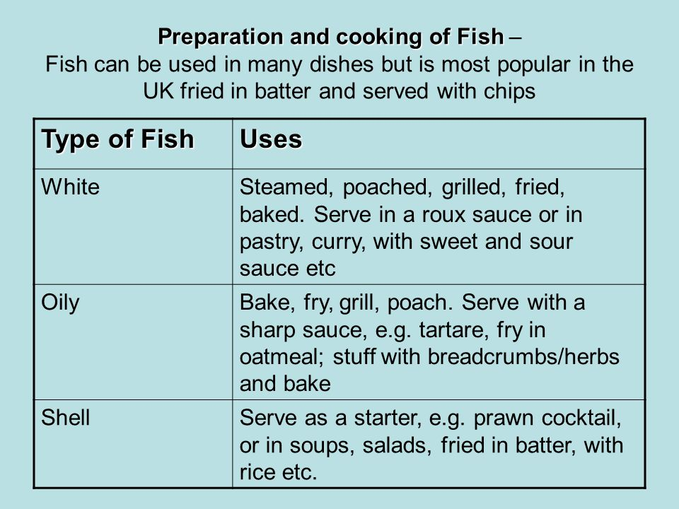 Preparation and cooking of Fish – Fish can be used in many dishes but is most popular in the UK fried in batter and served with chips