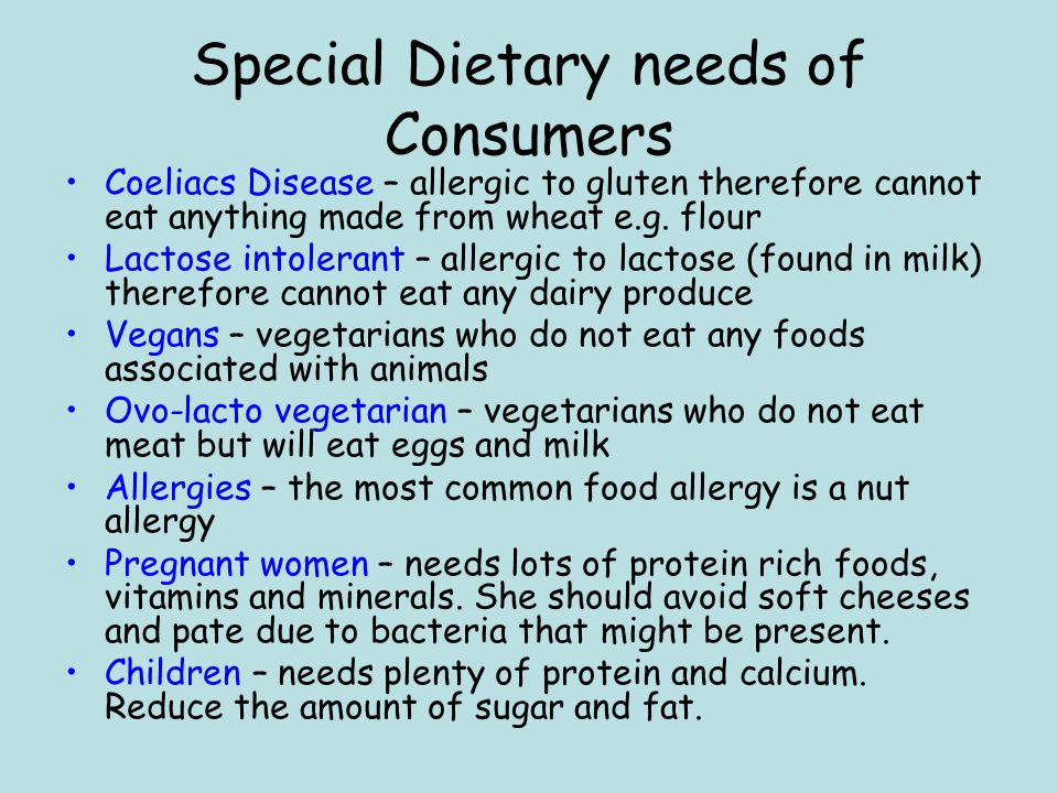 Special Dietary needs of Consumers