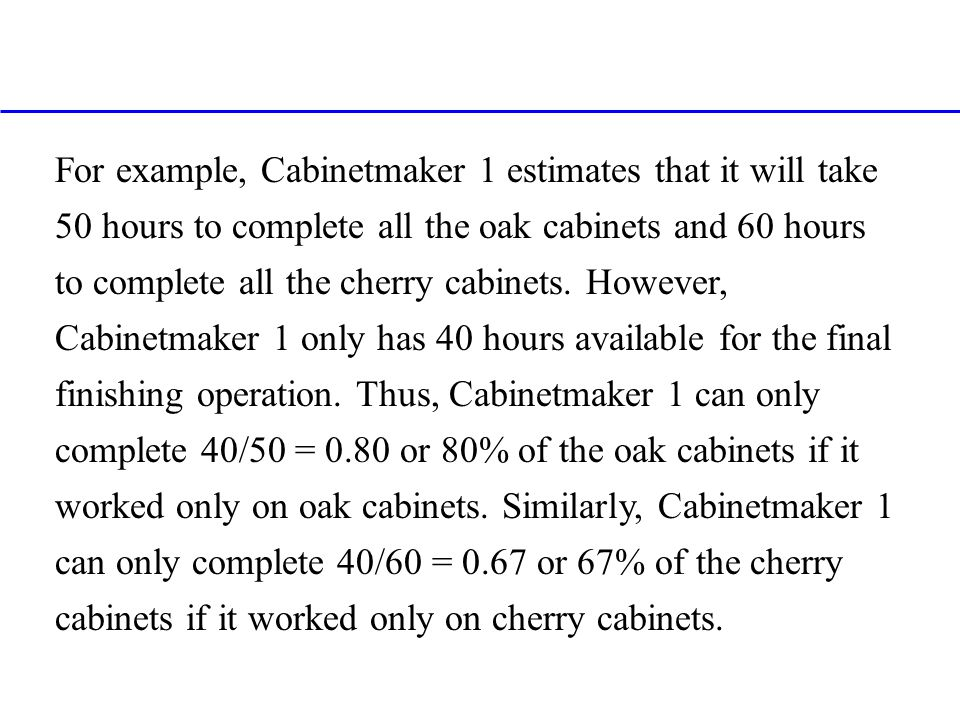 For example, Cabinetmaker 1 estimates that it will take 50 hours to complete all the oak cabinets and 60 hours to complete all the cherry cabinets.