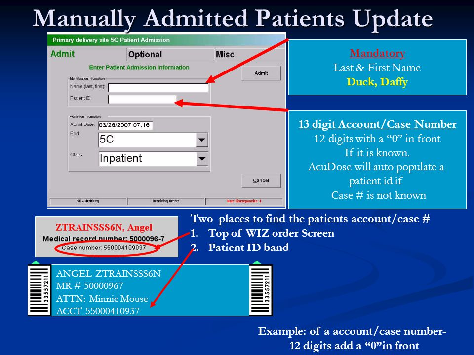 Manually Admitted Patients Update