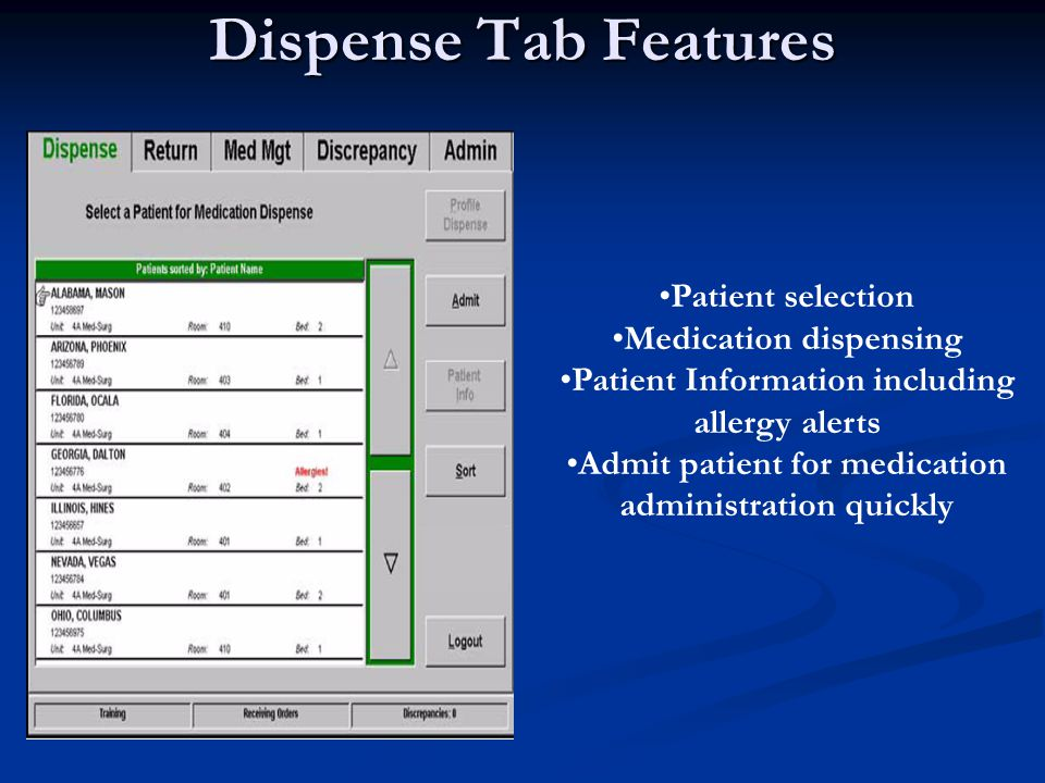 Dispense Tab Features Patient selection Medication dispensing