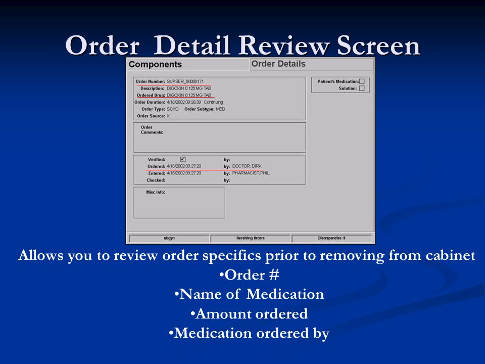 Order Detail Review Screen