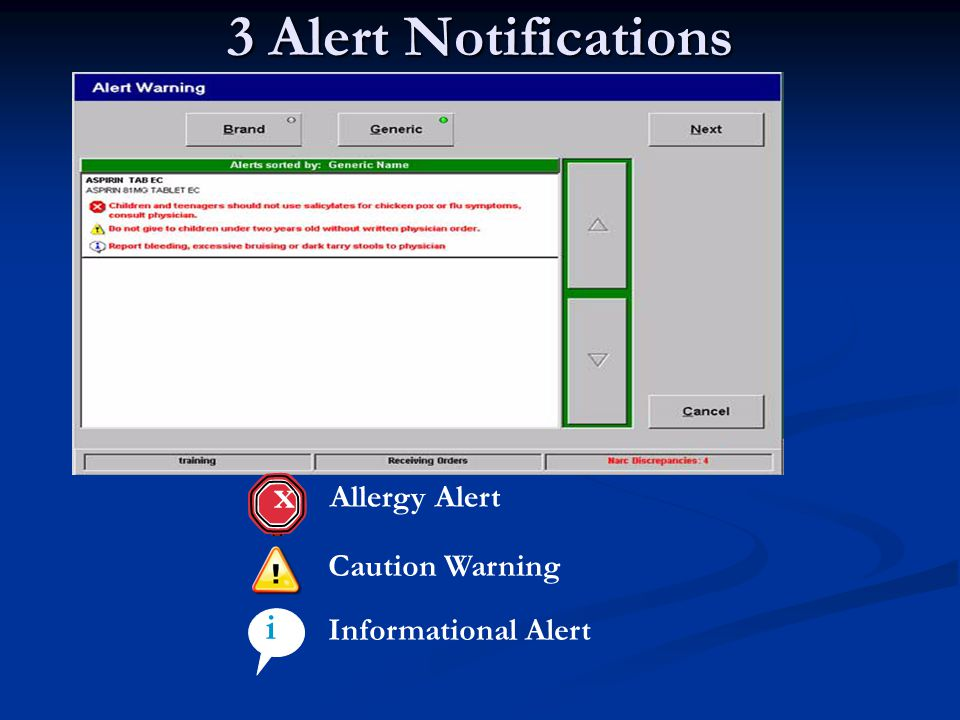 3 Alert Notifications x i Allergy Alert Caution Warning