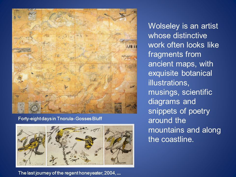 Wolseley is an artist whose distinctive work often looks like fragments from ancient maps, with exquisite botanical illustrations, musings, scientific diagrams and snippets of poetry around the mountains and along the coastline.