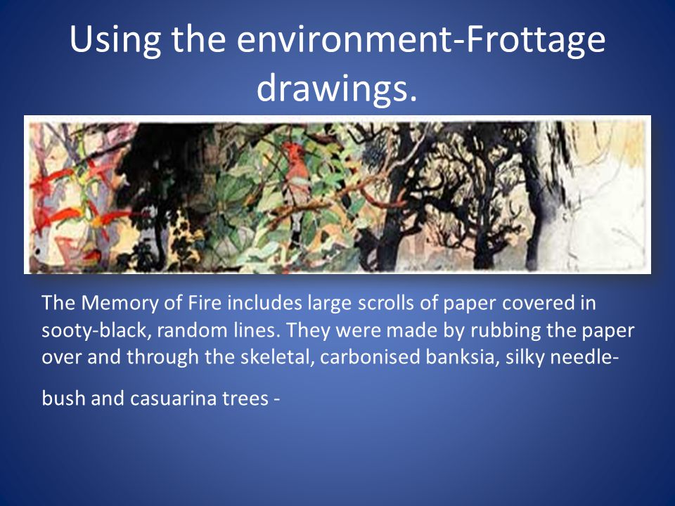 Using the environment-Frottage drawings.
