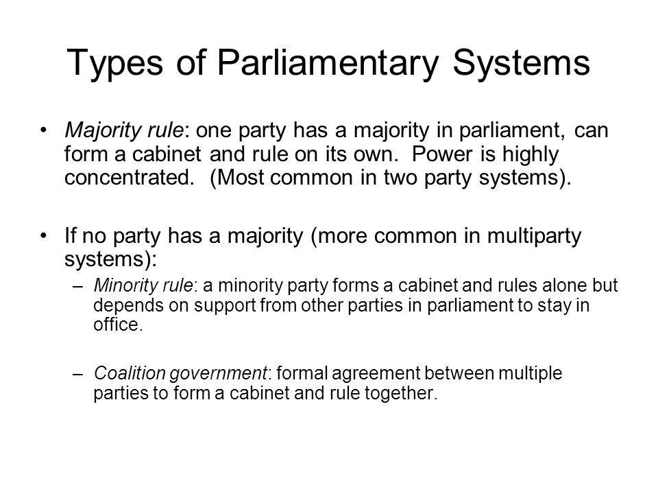 Types of Parliamentary Systems