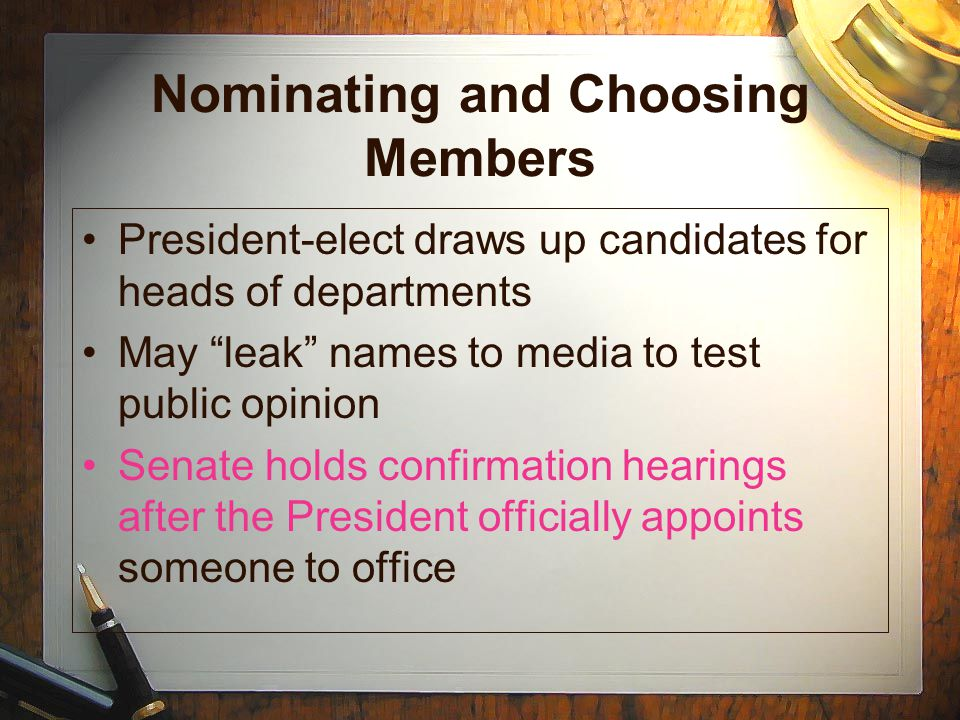 Nominating and Choosing Members