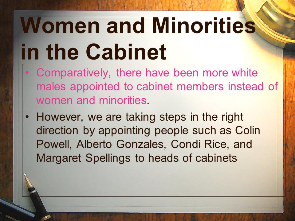 Women and Minorities in the Cabinet