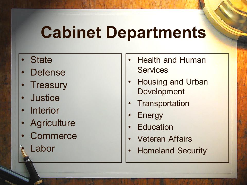 Cabinet Departments State Defense Treasury Justice Interior