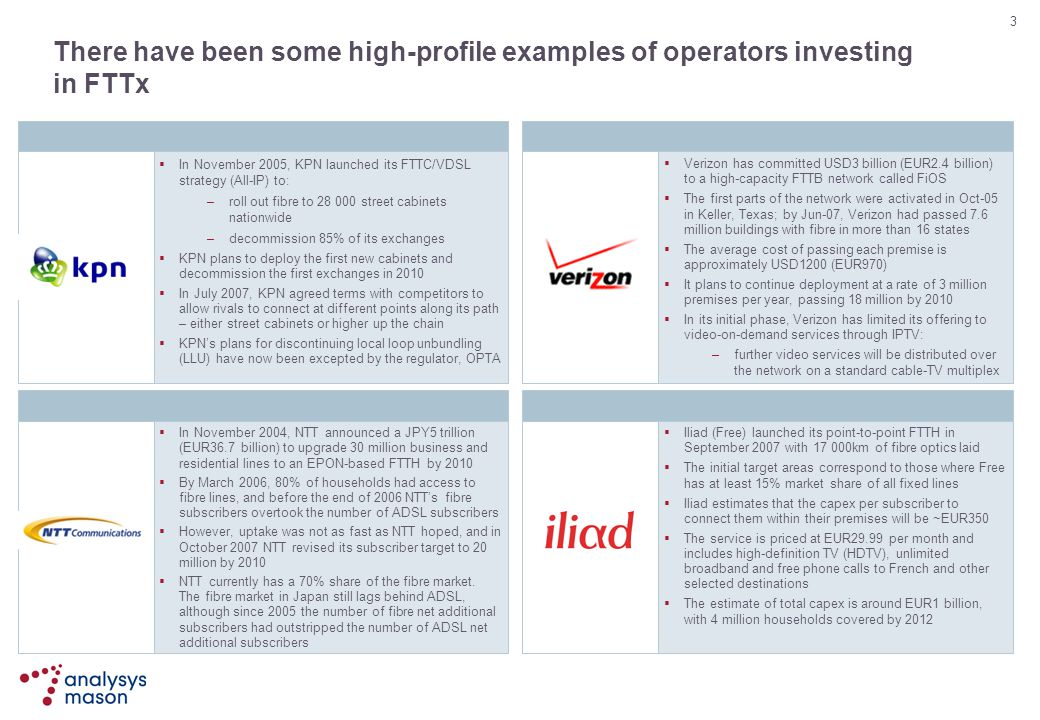 There have been some high-profile examples of operators investing in FTTx