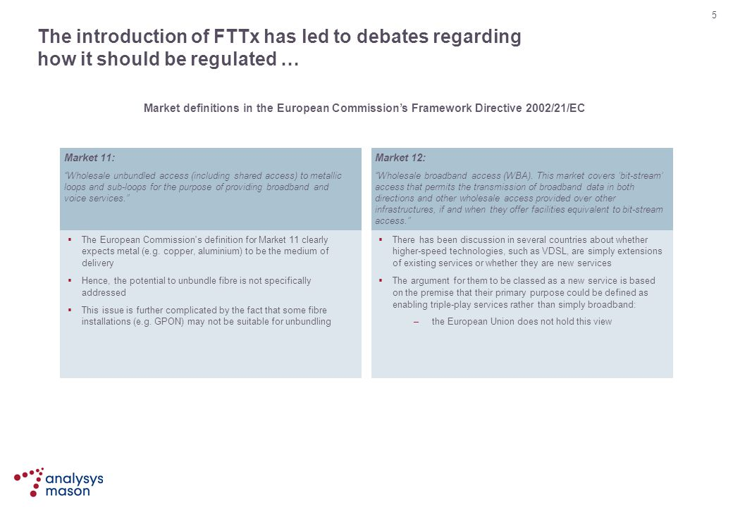 The introduction of FTTx has led to debates regarding how it should be regulated …