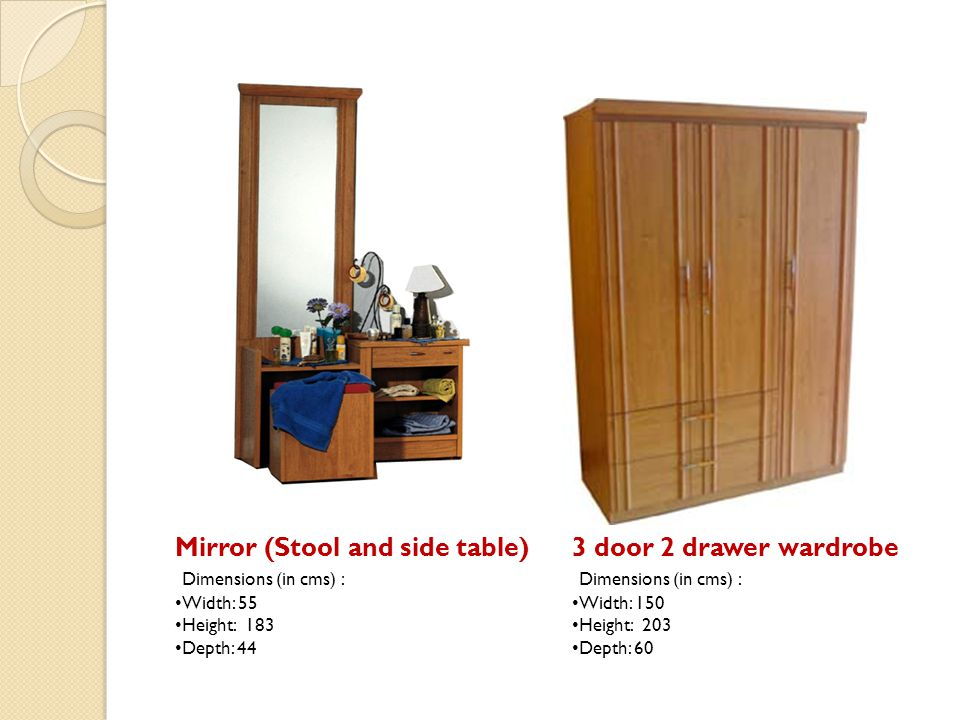 Mirror (Stool and side table) 3 door 2 drawer wardrobe