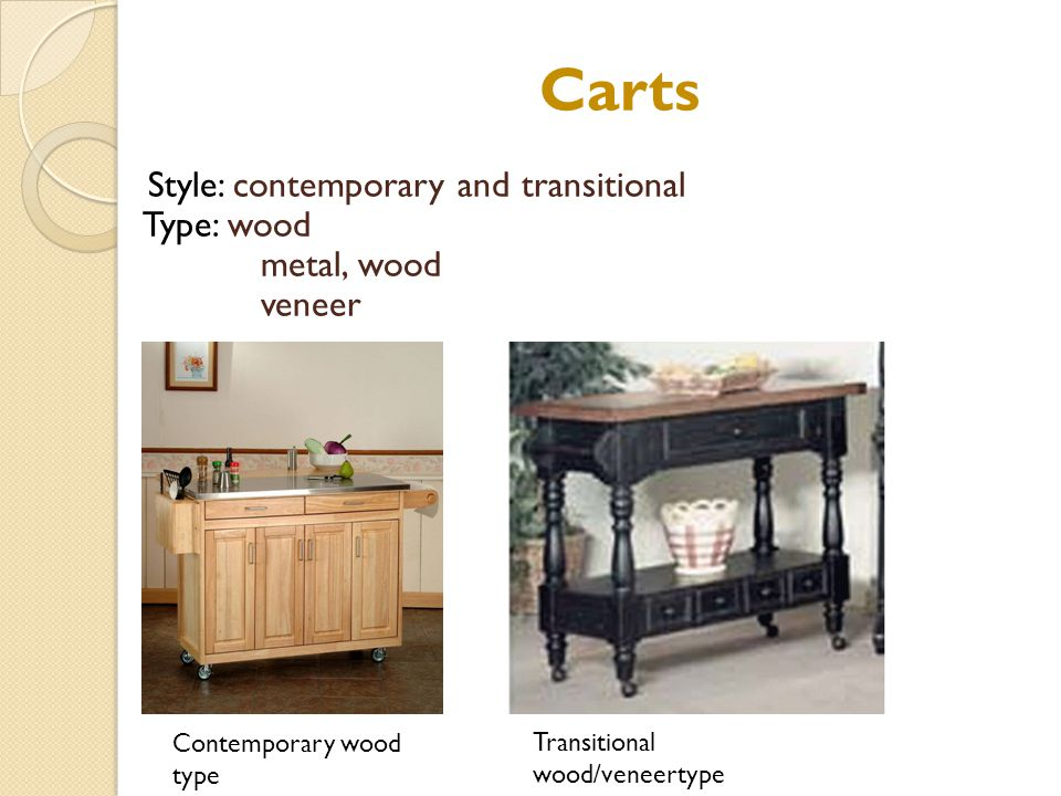 Carts Style: contemporary and transitional Type: wood metal, wood