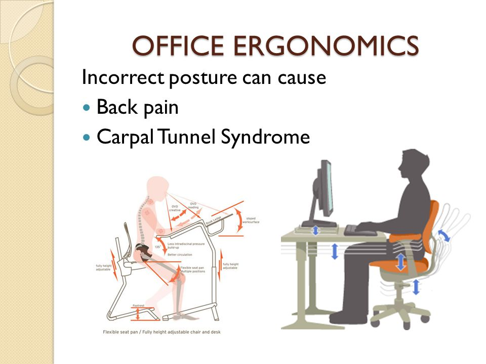 OFFICE ERGONOMICS Incorrect posture can cause Back pain