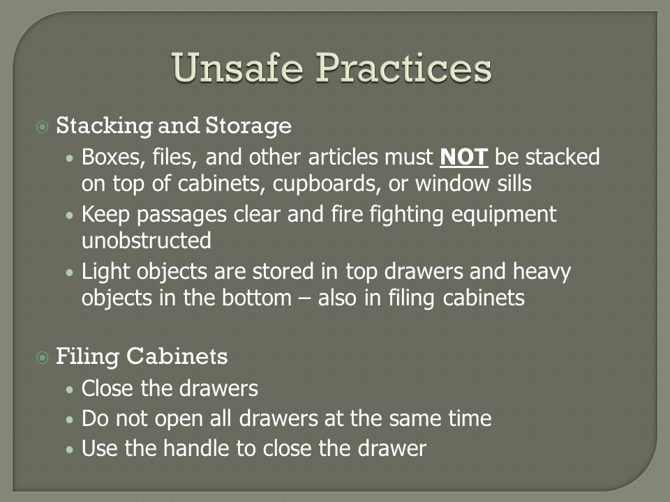 Unsafe Practices Stacking and Storage Filing Cabinets
