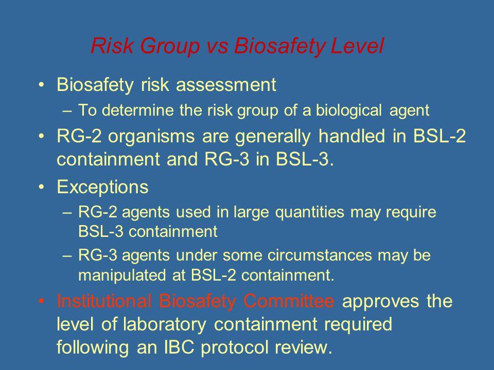 Risk Group vs Biosafety Level