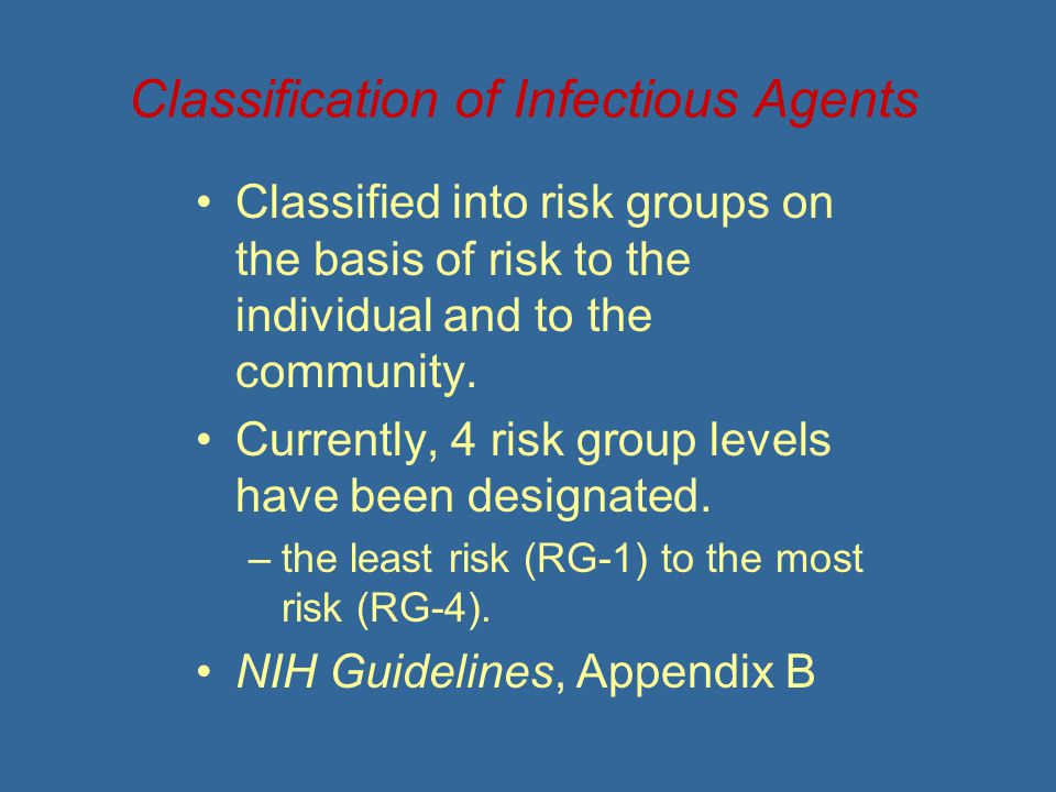 Classification of Infectious Agents