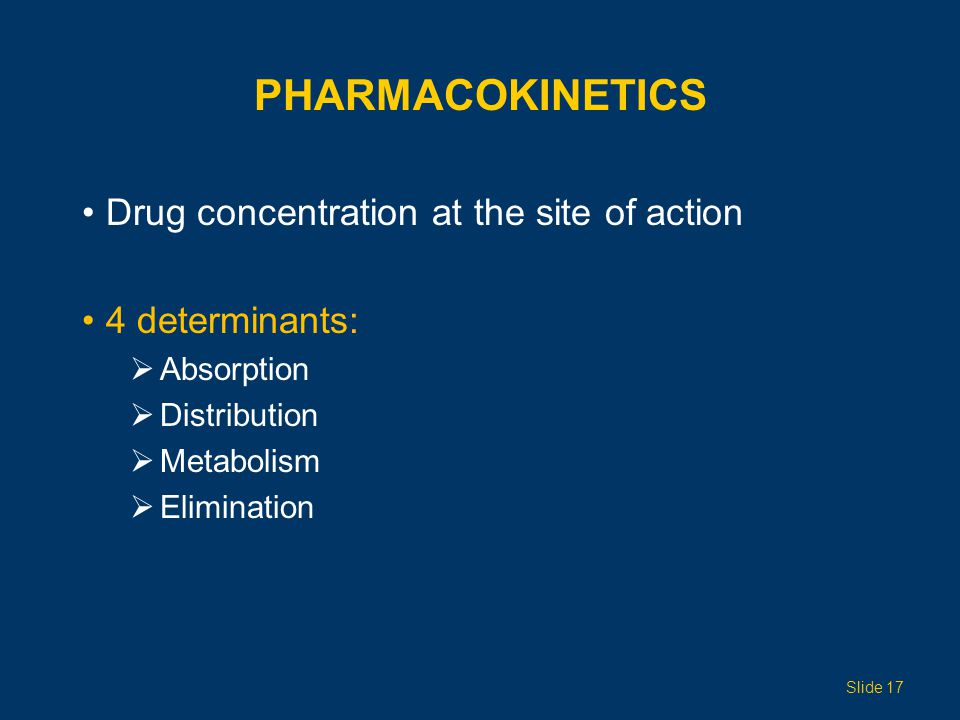 Pharmacokinetics Drug concentration at the site of action