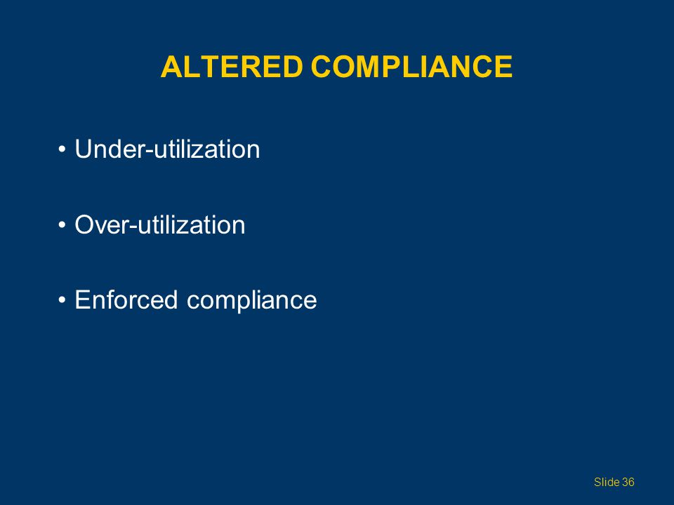 Altered Compliance Under-utilization Over-utilization