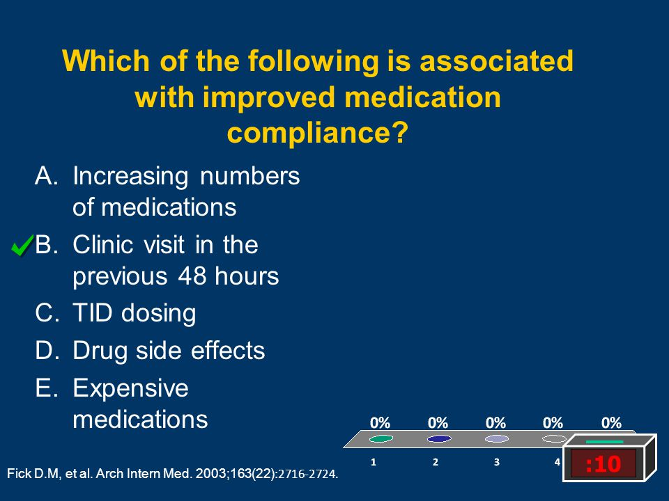 Which of the following is associated with improved medication compliance