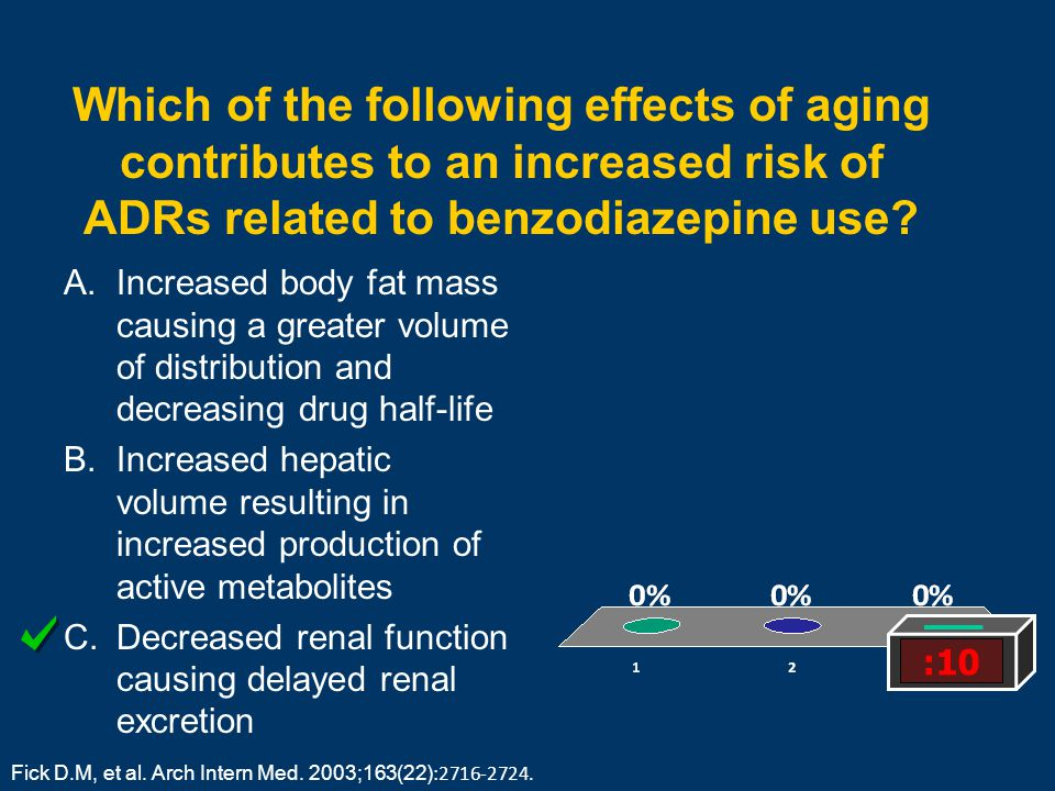 Which of the following effects of aging contributes to an increased risk of ADRs related to benzodiazepine use