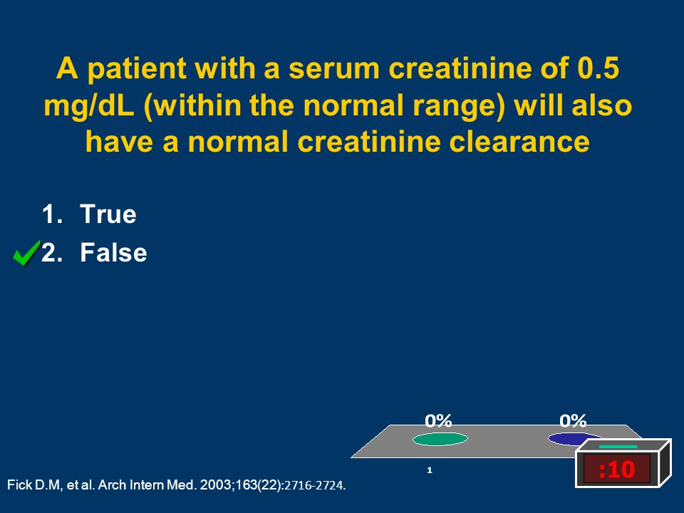 A patient with a serum creatinine of 0