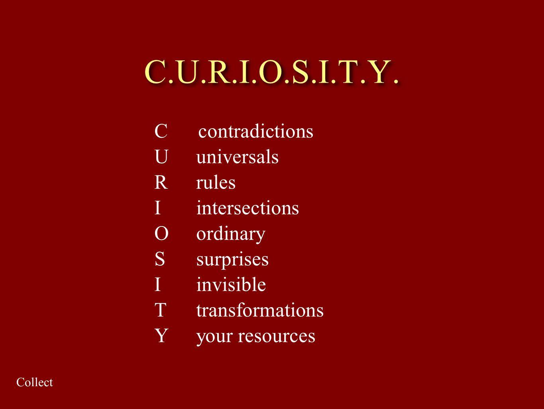 C.U.R.I.O.S.I.T.Y. C contradictions U universals R rules