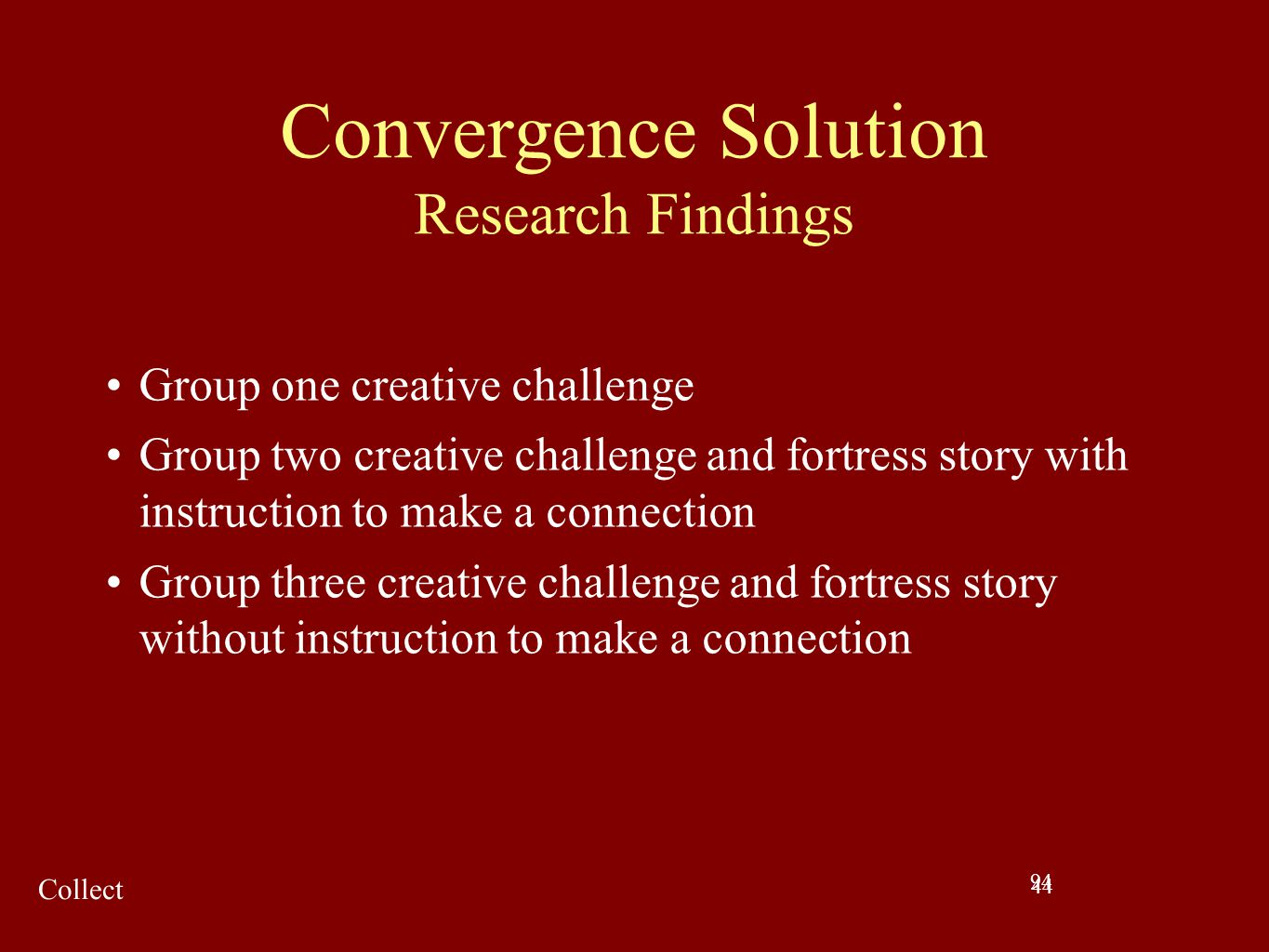 Convergence Solution Research Findings