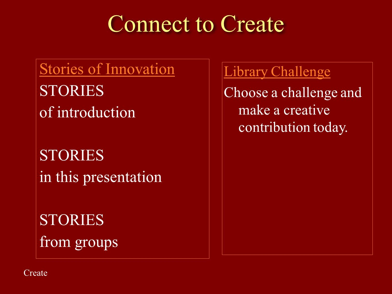 Connect to Create Stories of Innovation STORIES of introduction