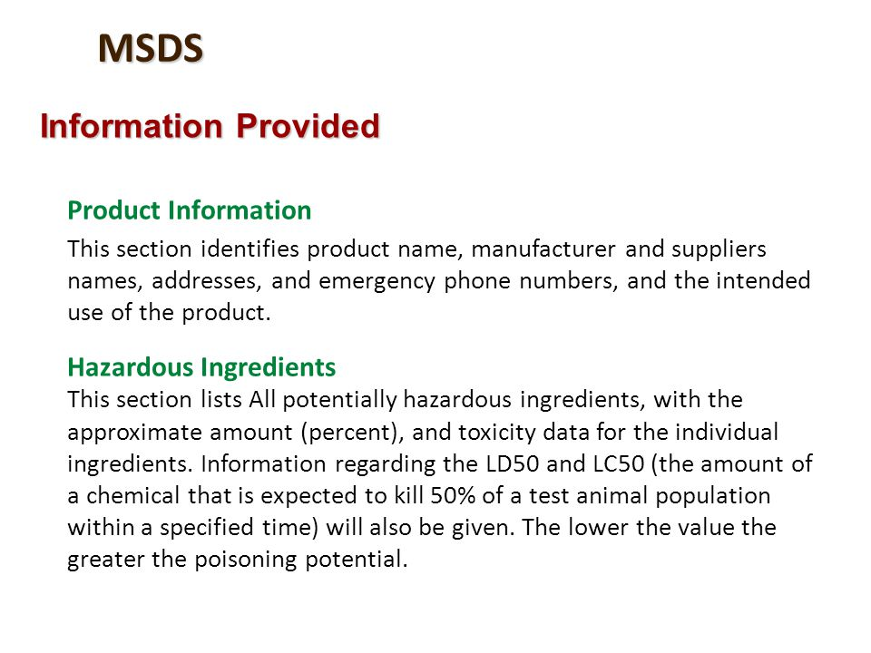 MSDS Information Provided Product Information Hazardous Ingredients