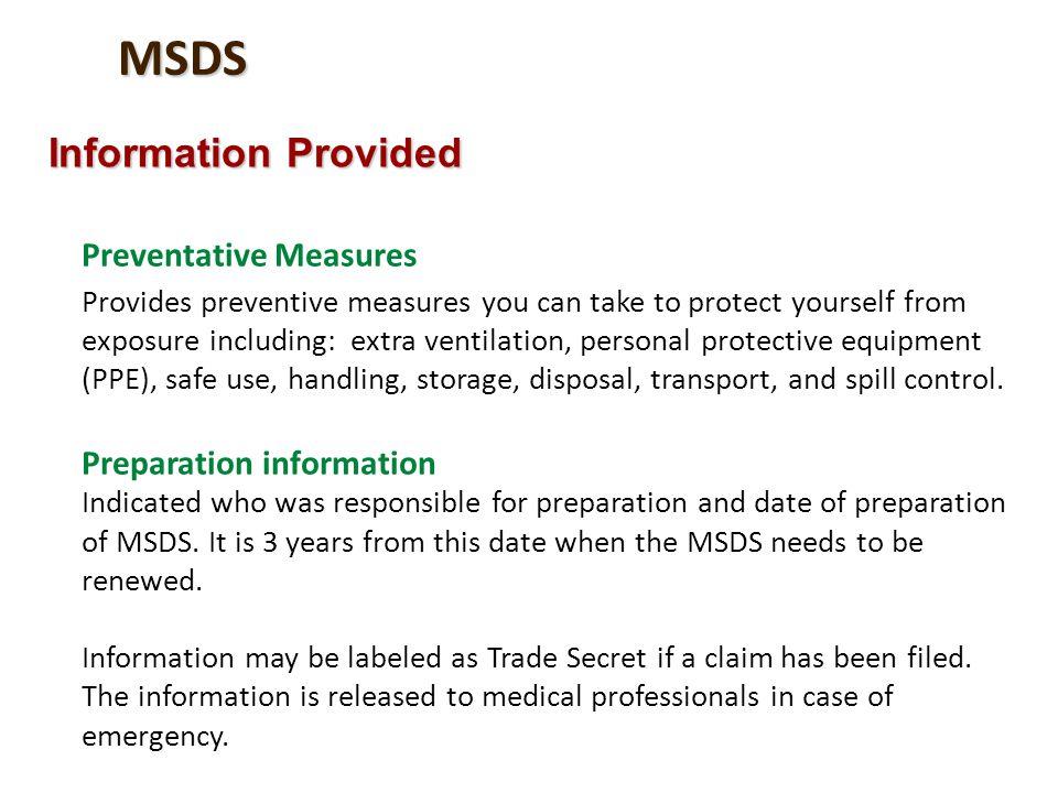MSDS Information Provided Preventative Measures