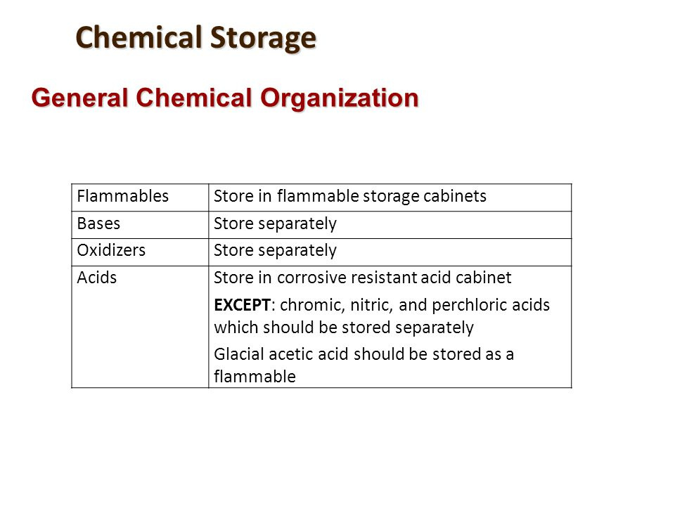 Chemical Storage General Chemical Organization Flammables