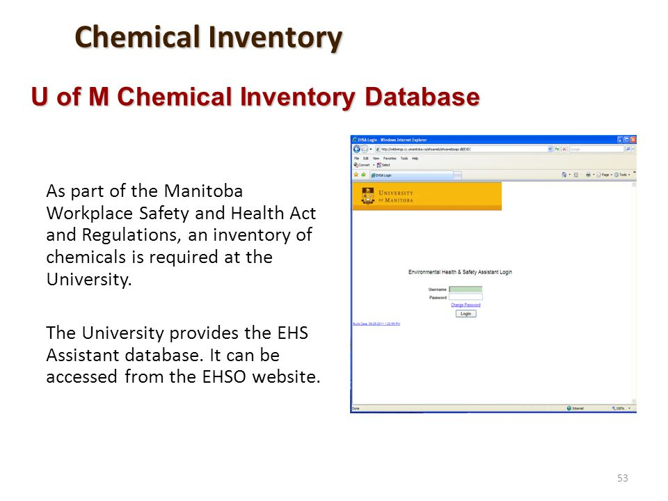 Chemical Inventory U of M Chemical Inventory Database