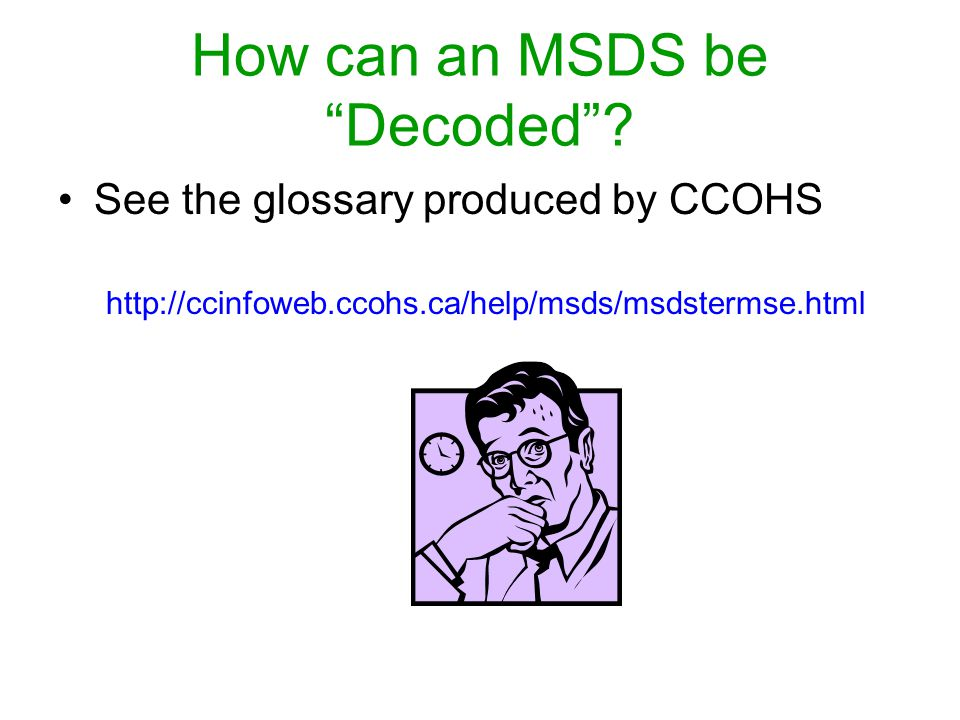 How can an MSDS be Decoded