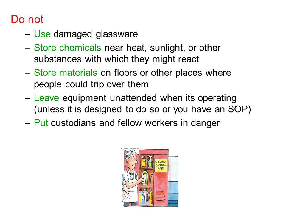Do not Use damaged glassware